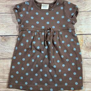 Mini Boden brown dress w blue polka dots 2-3 year